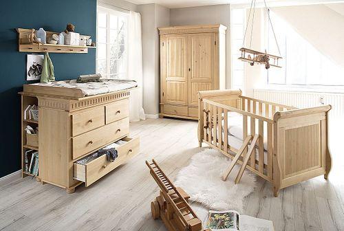 Babyzimmer-Set 8teilig komplett Kiefer massiv Holz antik lackiert – Bild 1