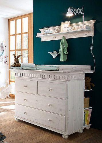 Wickelkommoden-Set Wickeltisch Kiefer massiv Holz weiß – Bild 1