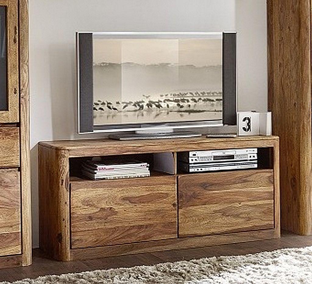 Tv Lowboard 133x60x40cm 2 Schubladen Palisander Sheesham Massiv Natur
