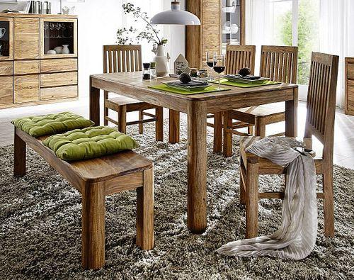 Essgruppe 6teilig Esszimmer-Garnitur Holz Palisander massiv Sheesham – Bild 1