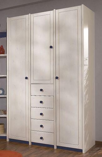 Kinderzimmerschrank 3türig Vollholz massiv weiß Kleiderschrank Kiefer – Bild 1