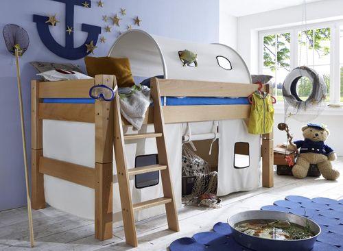 Hochbett 90x200 Kinderbett Tunnelzelt Vorhang hell Buche massiv – Bild 1