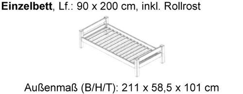 Jugendbett 90x200 Schubladenbett Buche massiv Kinderbett Kojenbett – Bild 3