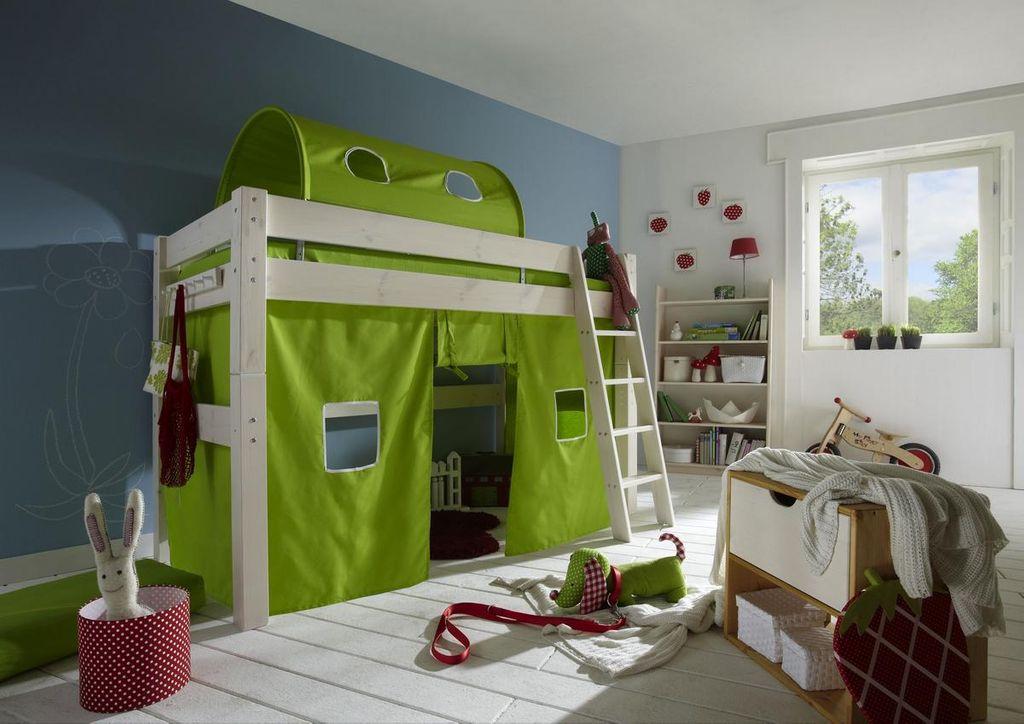 bett mittelhoch 210x140x128cm mit schr gleiter tunnelzelt und vorhang kiefer massiv wei lasiert. Black Bedroom Furniture Sets. Home Design Ideas