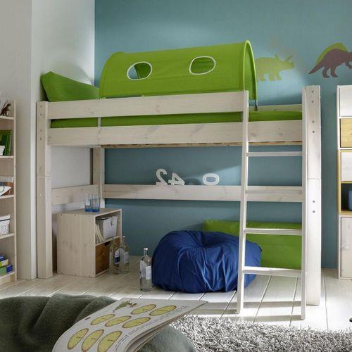 Hochbett 90x200 Kinderbett Vorhang grün Kiefer massiv weiß – Bild 1