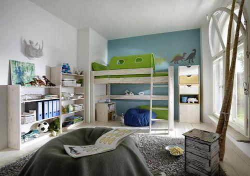 Hochbett 90x200 Kinderbett Vorhang grün Kiefer massiv weiß – Bild 2