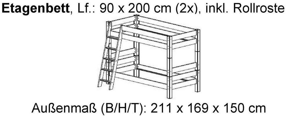 etagenbett 210x169x135cm mit schr gleiter kiefer massiv wei lasiert. Black Bedroom Furniture Sets. Home Design Ideas