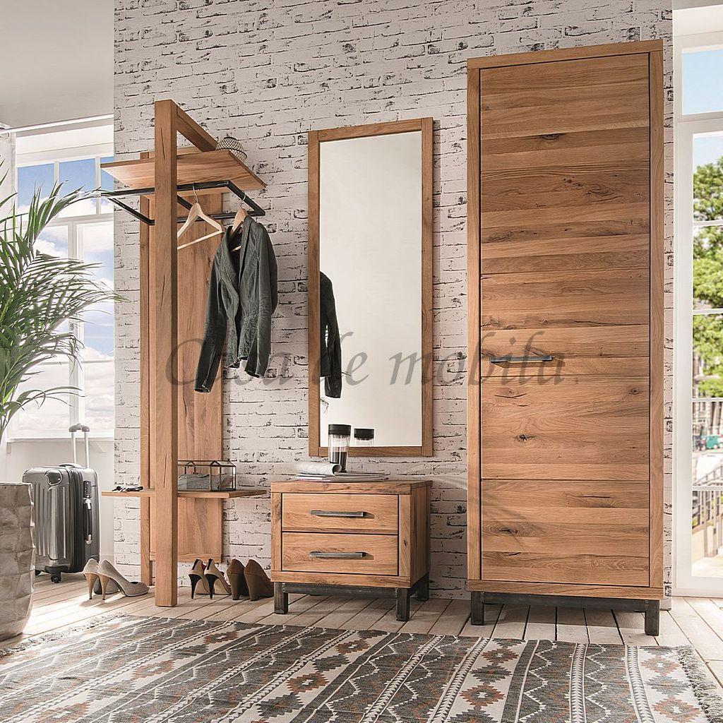 Massivholz Möbel Dielen Set 4teilig, Wildeiche massiv, Serie Basel, Programm Brest