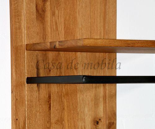 Wandgarderobe Wildeiche massiv Vollholz rustikal Eisen Vintage  schwarz – Bild 6
