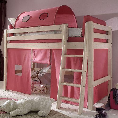 Hochbett 90x200 Kinderbett Tunnelzelt Vorhang pink Kiefer massiv weiß – Bild 1