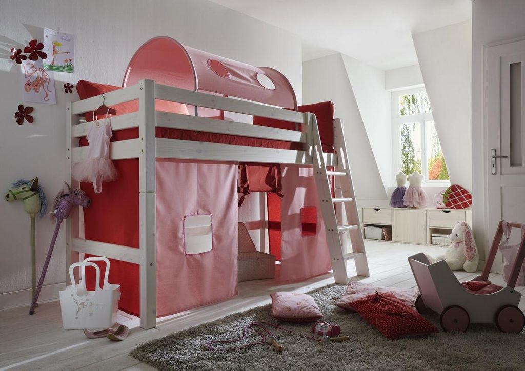 hochbett 210x140x128cm mit tunnelzelt vorhang leiter kiefer massiv wei lasiert. Black Bedroom Furniture Sets. Home Design Ideas