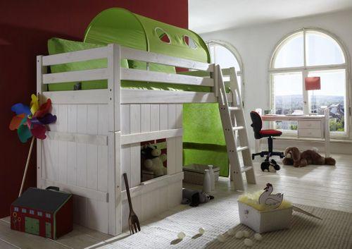 Hochbett 90x200 Kinderbett Tunnel Holzelement grün Kiefer massiv weiß – Bild 2
