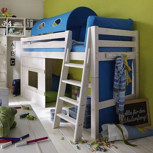 Hochbett 90x200 Kinderbett Holzelement türkis Kiefer massiv weiß – Bild 1