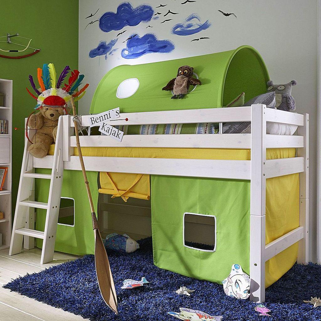bett halbhoch 210x117x123cm mit schr gleiter tunnelzelt und vorhang kiefer massiv wei lasiert. Black Bedroom Furniture Sets. Home Design Ideas