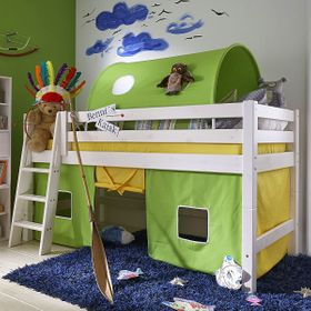 Bett halbhoch 210x117x123cm, mit Schrägleiter, Tunnelzelt und Vorhang, Kiefer massiv weiß lasiert