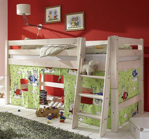 Hochbett 90x200 Kinderbett Vorhang Schaf-Motiv Kiefer massiv weiß – Bild 1