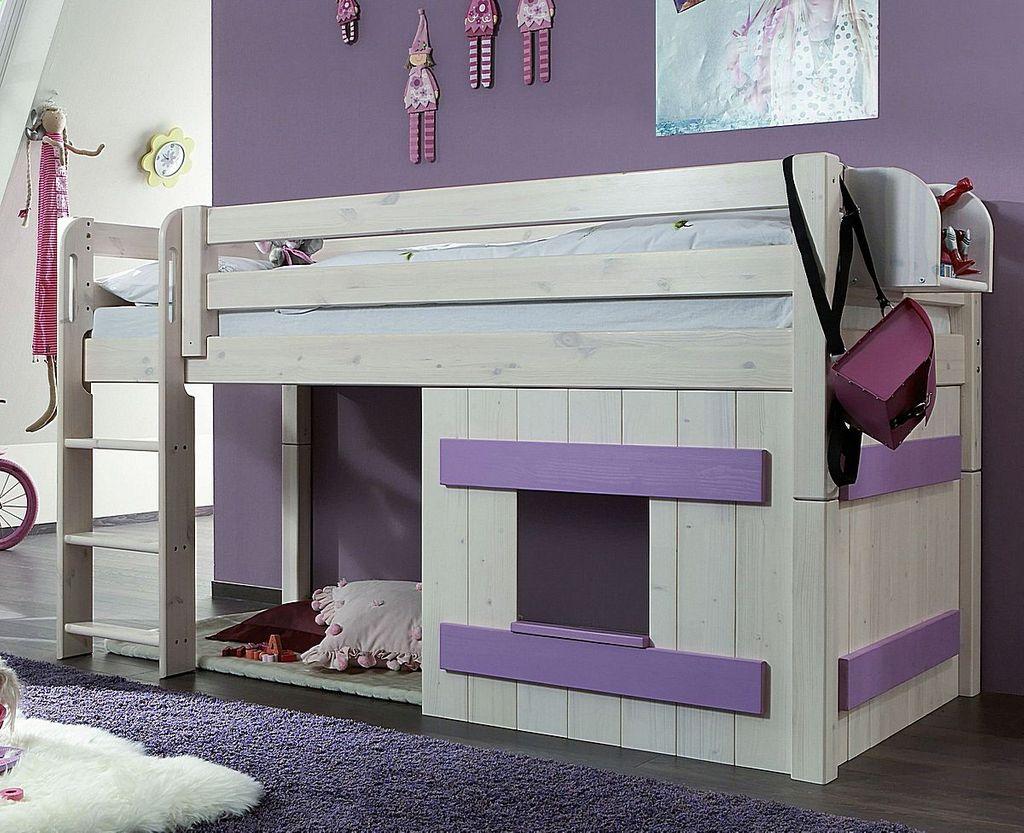 Wunderbar Bett Halbhoch Galerie Von Massivholz Hochbett Kinderbett Holzelement Kiefer Weiß Flieder