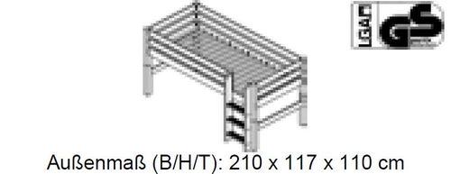 Hochbett 90x200 Kinderbett Holzelement Kiefer massiv weiß Flieder – Bild 3