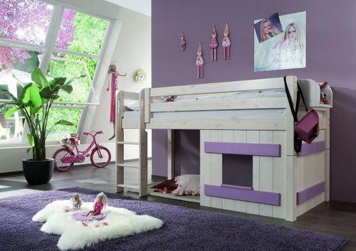 Hochbett 90x200 Kinderbett Holzelement Kiefer massiv weiß Flieder – Bild 2