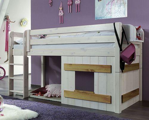 Hochbett 90x200 Kinderbett Holzelement Kiefer massiv weiß gelaugt geölt – Bild 1