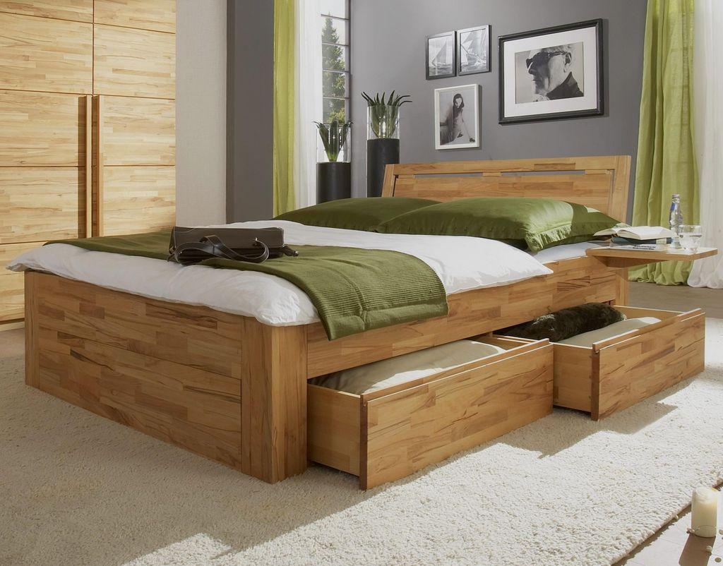 Schubkastenbett massiv 100x200 2 Schubladen Natur Livos geölt – Bild 1