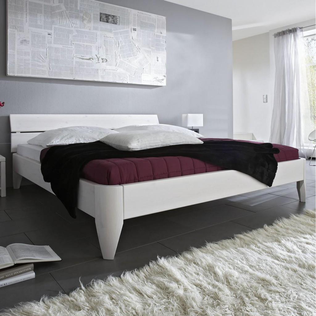 Bett 100x200 Beine 1 Komforthöhe Kopfteil 2 Kiefer Weiß