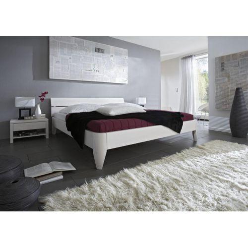 Seniorenbett 160x200 Kiefer massiv Doppelbett Normalhöhe weiß lackiert – Bild 2