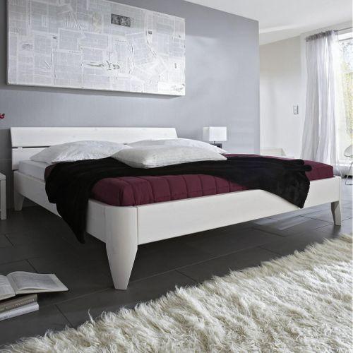 Seniorenbett 140x200 Kiefer massiv Doppelbett Normalhöhe weiß lackiert – Bild 1