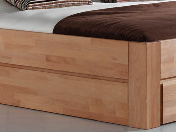 Schubkastenbett massiv 120x200 2 Schubladen Natur Livos geölt – Bild 6