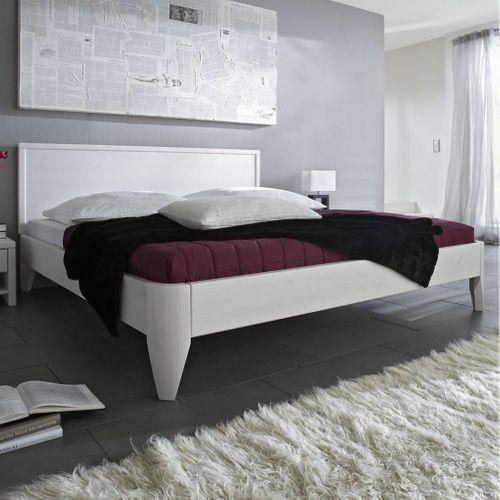 Holzbett 120x200 Kiefer massiv Doppelbett Normalhöhe weiß lackiert – Bild 1