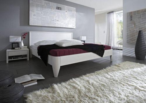 Seniorenbett 100x200 Kiefer massiv Doppelbett Komforthöhe weiß lackiert – Bild 2