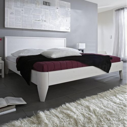 Seniorenbett 100x200 Kiefer massiv Doppelbett Komforthöhe weiß lackiert – Bild 1