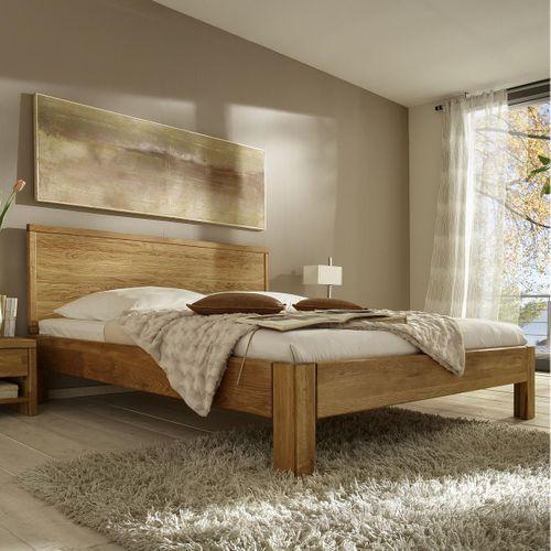 Bett 120x200 Eiche massiv Einzelbett Normalhöhe geölt – Bild 1
