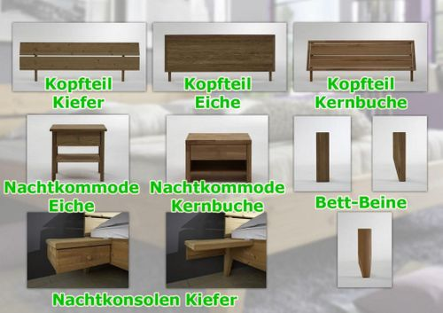 Bett 120x200 Eiche massiv Einzelbett Normalhöhe geölt – Bild 5
