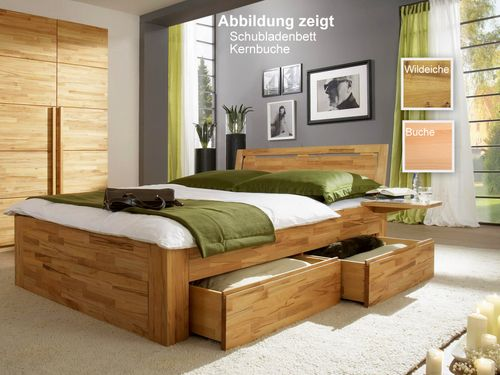 Schubkastenbett massiv 180x200 2 Schubladen Natur Livos geölt – Bild 1