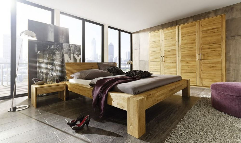 Schlafzimmer Set Wildeiche massiv Natur geölt