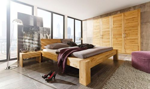 Komplett Schlafzimmer Wildeiche Bett 180x200 Schlafzimmermöbel mit Livos Öl – Bild 1