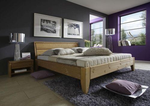Bett 90x200 Komforthöhe Kiefer massiv Einzelbett gelaugt geölt – Bild 1