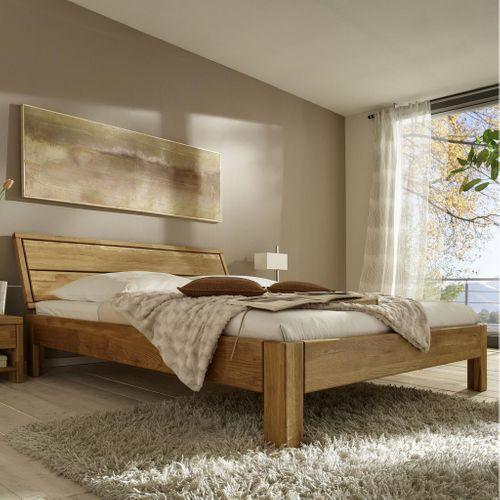 Bett 90x200 Seniorenbett Eiche massiv Einzelbett geölt – Bild 1