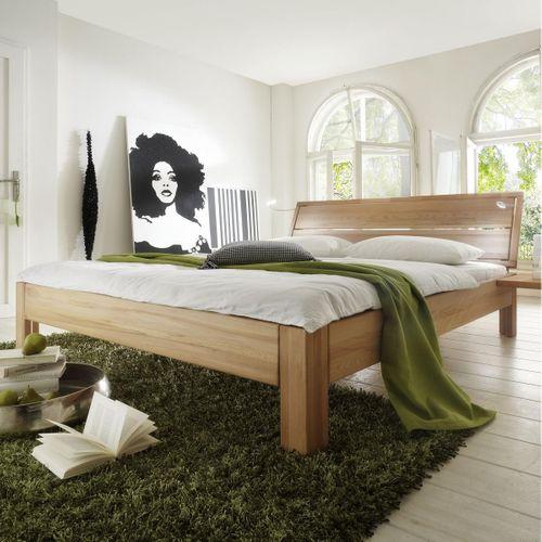 Bett 120x200 Kernbuche Seniorenbett massiv Einzelbett geölt stabverleimt – Bild 1