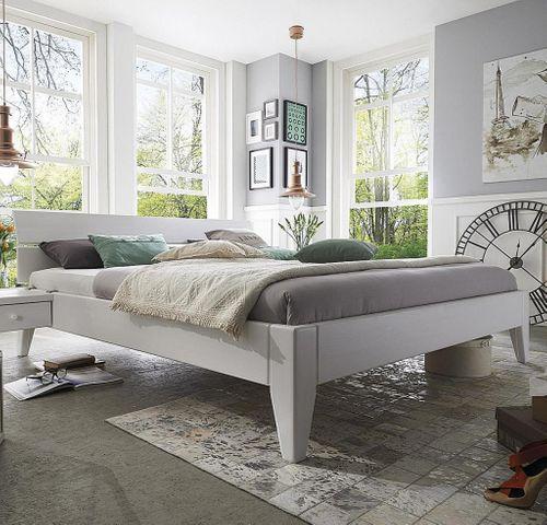Bett 100x200 XL Komforthöhe Kiefer massiv Einzelbett weiß lackiert – Bild 1