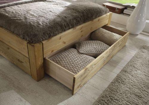 Schubkastenbett 160x200 Seniorenbett Komforthöhe Kiefer massiv gelaugt geölt – Bild 3