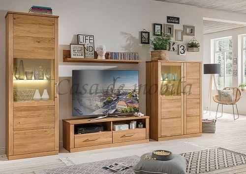 TV-Lowboard Massivholz Fernsehkommode 114x45x40cm geölt – Bild 8