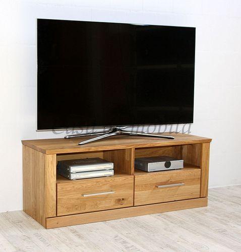 TV-Lowboard Massivholz Fernsehkommode 114x45x40cm geölt – Bild 1