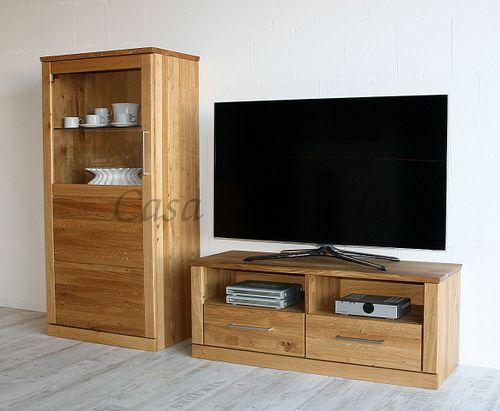 TV-Lowboard PALERMO 114x45x40cm Wildeiche Fernsehkommode natur geölt – Bild 6