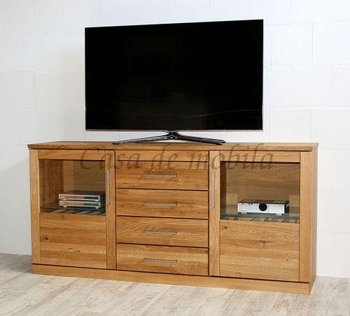 Sideboard Massivholz Fernsehkommode Glastüren 172x85x45cm geölt – Bild 2