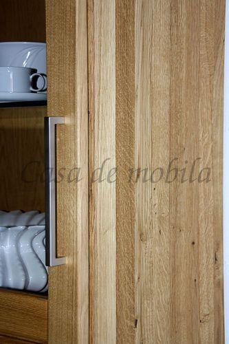 Wohnzimmerschrank links Massivholz Vitrine Highboard 69x143x40cm geölt – Bild 6