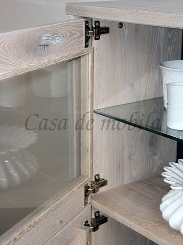 Highboard Vitrine 75x134x42cm Massivholz rustikal links – Bild 8