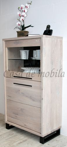 Highboard Vitrine 75x134x42cm Massivholz rustikal links – Bild 11