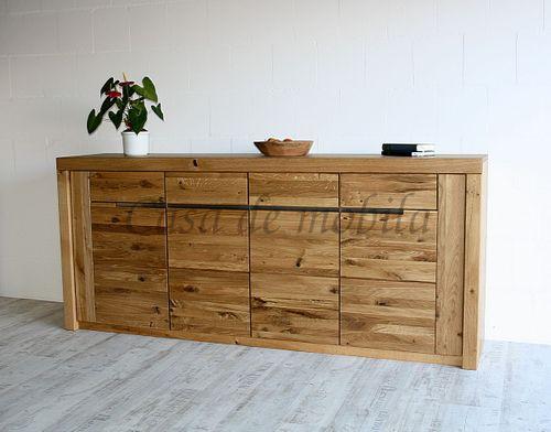 Sideboard 4türig Ureiche geölt Kommode Anrichte Holz massiv – Bild 1